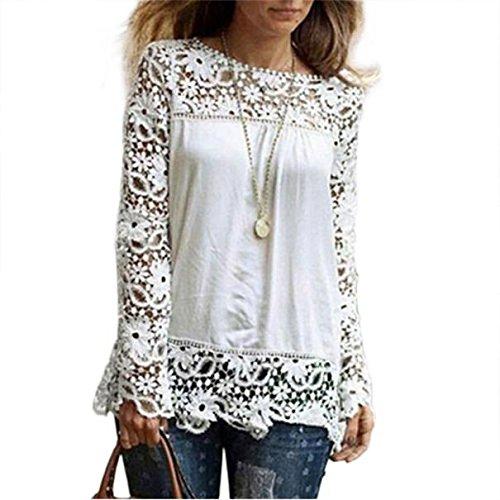 ESAILQ Mode Damen Langarm Shirt Casual Spitze Bluse lose Baumwolle (L, Weiß)