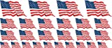 Mini Aufkleber Set wehend - 4x 51x31mm+ 12x 33x20mm + 10x 20x12mm- selbstklebender Sticker - USA - United States - Flagge / Banner / Standarte fürs Auto, Büro, zu Hause und die Schule - Set of 26