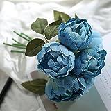 Luyue Bouquet di peonie artificiali, in seta, per sposa, matrimoni, feste vintage, decorazioni floreali (confezione da 6 fiori di peonia) Blue