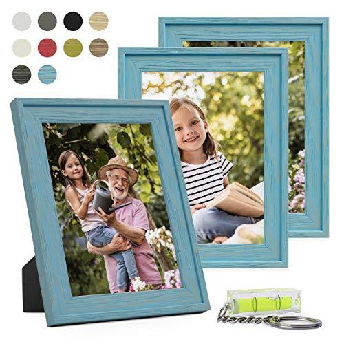 PHOTOLINI Bilderrahmen 3er Set Landhaus-Stil Traditionell 10x15 cm Blau mit Maserung   Massivholz-Rahmen mit Echtglasscheibe -