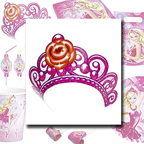 Pinke Tiara Kindergeburtstag Krone 6 Stk. Mädchen Kronen Barbie Krönchen Partydekoration Geburtstag Kinder Party Diadem Accessoire Tiara Kinderparty