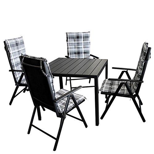 9tlg. Gartengarnitur Gartentisch, Aluminium, Polywood Tischplatte schwarz, 90x90cm + 4x Hochlehner, Textilenbespannung, Lehne 7-fach verstellbar + 4x Stuhlauflage / Terrassenmöbel Gartenmöbel Set Sitzgarnitur