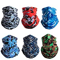Minkissy 6pcs Neck Gaiter Face Scarf Creative Printed Sun UV Protection Neck Gaiter Breathable Scarf Neck Protector for Outdoor Running Riding