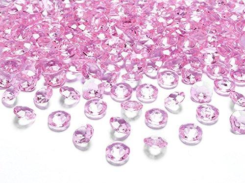 Dekosteine Diamanten rosa 100 Stück 12mm Durchmesser Deko-Edelsteine Tischdeko Hochzeit Palandi®