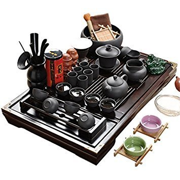 Bandeja de té de madera de cerámica Kung Fu Juego de té-Negro
