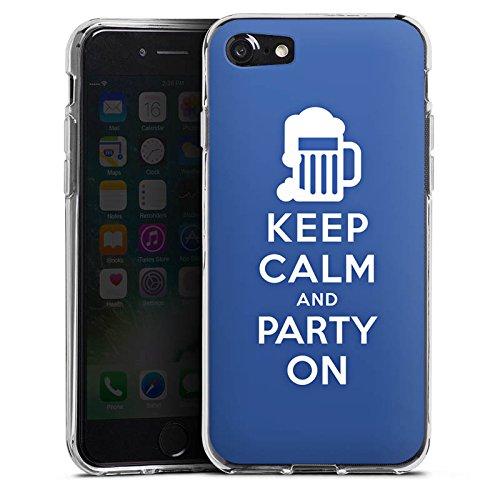 Apple iPhone X Silikon Hülle Case Schutzhülle Keep Calm Party Bier Silikon Case transparent