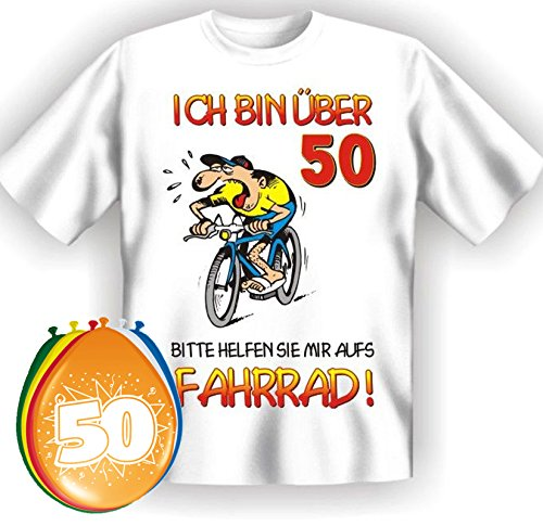 T-Shirt Ich bin über 50 bitte helfen sie mir aufs Fahrrad Größe L zum 50. Geburtstag + 8 Luftballons