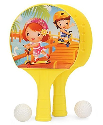 Ratna's Sporty Super Champ Table Tennis Set For Kids To Play The Sport Indoor And Outdoor.(prints May Vary) (yellow)