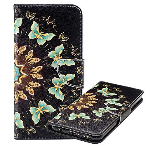Laybomo Carcasa Xiaomi Mi A2 Lite (Redmi 6 Pro) Tapa Bolsa Cuero Monederos Billetera Magnética Protector Silicona Suave TPU Cover Funda para Xiaomi Mi A2 Lite Avec Tarjeteros, Mariposa Impreso