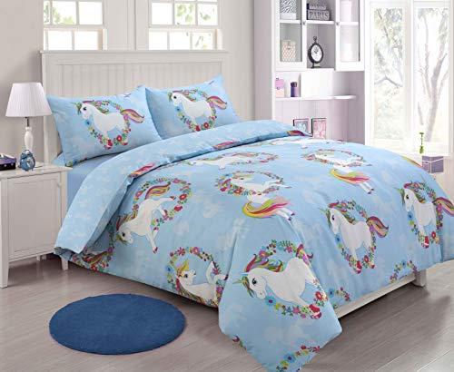 Sunshine Comforts Bedrucktes Wende-Bettwäsche-Set mit Kissenbezügen, Blumenmuster, Blau, Einhorn, Einzelbett