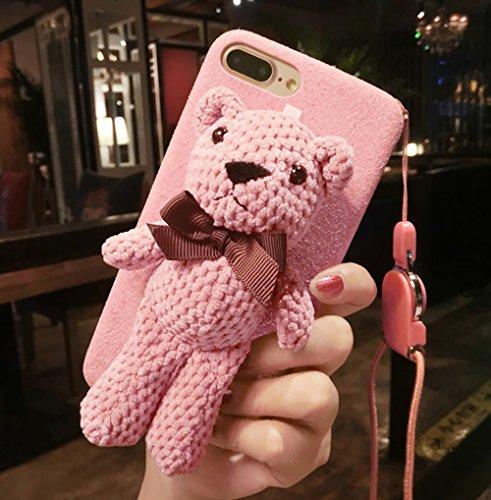 iPhone Fall, Plüsch Puppe Teddy Cute Bear Ständer Klammern, Flanell Soft Case für iPhone mit Lanyard, iPhone X, Rose