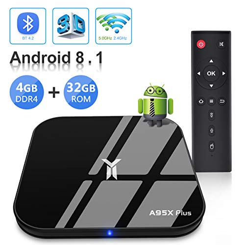 Android TV BOX, A95X PLUS TV BOX Android 8 1 4GB RAM/32GB ROM Amlogic  S905Y2 Quad Core Support 2 4Ghz/5 0Ghz WiFi Bluetooth 4 2 DLNA 3D 4K UHD  Super