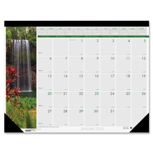 House of Doolittle fotografica Tappetino da scrivania con calendario mensile, gennaio-dicembre 2013, 55,88 (22 43,18 cm x cm, motivo: cascate (17 del mondo House of Doolittle