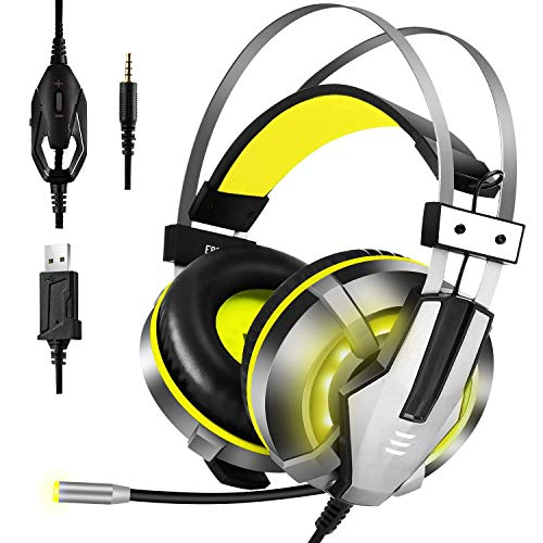 EKSA Gaming Headset PS4, 3,5mm Xbox One Headset mit Noise Cancelling Mikrofon, LED-Licht, Bass Surround Sound, 50mm Lautsprecher Treiber Kopfhörer für PC MAC Laptop IPad Smartphone (Gelb)