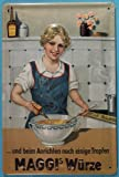 Blechschild Nostalgieschild Maggis Würze einige Tropfen Maggi Metall Schild Werbeschild Küche Hausfrau