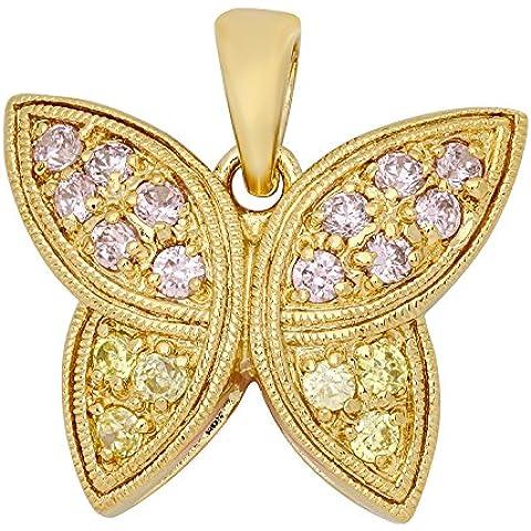 Secondo le donne s placcato oro rosa con farfalla con zirconia cubica, ciondolo &
