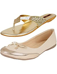 AUTHENTIC VOGUE Women's Combo Pack of Casual Bellerinas & Partywear Slip On Sandal (Combo Pack of 2)