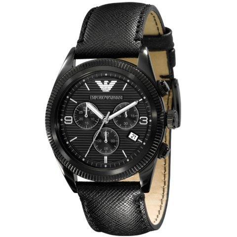 Emporio Armani AR5904 Herrenuhr Lederband Edelstahl 50m Analog Datum Chronograph schwarz