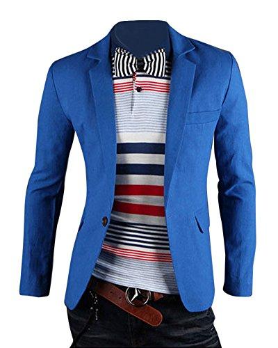 Herren Anzug Business Slim Fit Hochzeit Jacke Lässige Sakko Blazer See Blau L