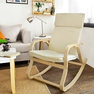SoBuy® Sedia a dondolo,poltrona oscillante,Sedia relax,beige,FST15-W,IT
