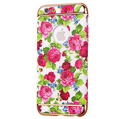 "iPhone 6s Handyhülle, Kreativ Mode Series CLTPY iPhone 6 [Ultra Hybrid] 3-Teilige Stylisch Extra Dünne Tough Plastic Schutz-etui mit Detachable Elektroplattiert metallrahme für 4.7"" Apple iPhone 6/6s  Farbige Blume 16"