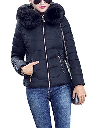 Ghope Damen Frauen Winter Jacke GefüTtert Kurz Daunen Baumwolle Skijacke Steppjacke Mit Kapuze Warm Schwarz