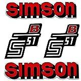 Set Aufkleber Klebefolie für Simson S51 B Rot für Tank und Seitendeckel