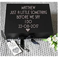Personalised Groom Box, Wedding Keepsake, Groom Gift Box, Gifts For Him, Wedding Gift Box, Husband To Be Gift, Husband Gift Box, Groomsman Gift, Grooms Box, A4 size, measures 33 x 25 x 11 cms complete with shredded paper and a small heart charm.