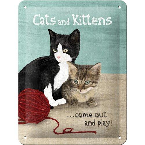 Vintage placa metálica con gatos en varios tamaños, multicolor, smal
