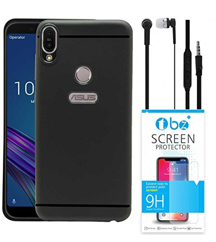 TBZ Soft TPU Slim Back Case Cover for Asus Zenfone Max Pro (M1) with Earphone and Tempered Screen Guard -Black