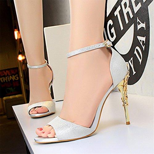 z&dw Metal sexy avec des talons hauts en satin bouche creuse de poisson avec sandales Chaussures de mariage Argent (pu)