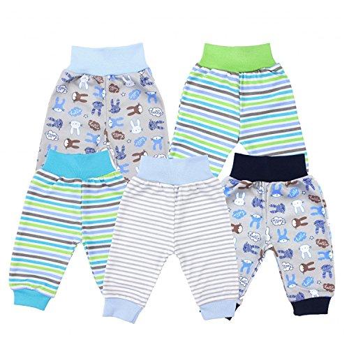 TupTam Unisex Baby Pumphose Jersey Schlupfhose 5er Pack, Farbe: Junge, Größe: 80