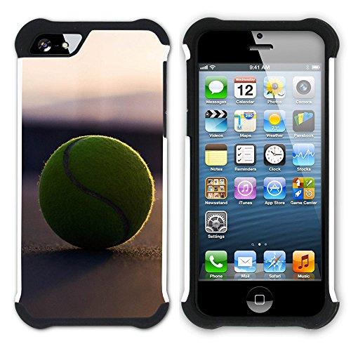 Graphic4You Tennis Ball Sport Hart + Weiche Kratzfeste Hülle Case Schale Tasche Schutzhülle für Apple iPhone SE / 5 / 5S Design #2