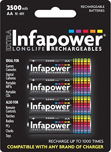 Aa Infapower 2700 mAh Ni-MH batterie ricaricabili fotocamere console di gioco, 4-confezione da
