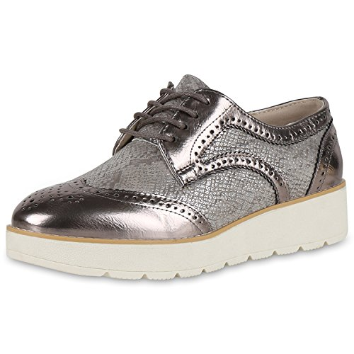 Damen Halbschuhe Profilsohle Dandy Style Schnürschuhe Grau Grau Metallic