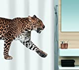 Spirella Anti-Schimmel Duschvorhang Leopard Anti-Bakteriell, waschbar, wasserdicht Polyester 180x200cm