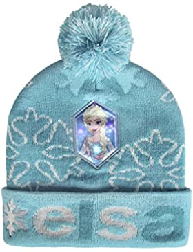 Disney Frozen 2200-2566 Cappello Invernale Pompon, Luce LED, Acrilico, Bambina, Multicolore, Elsa