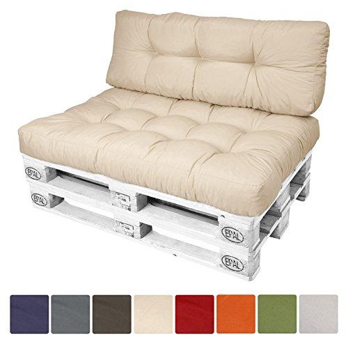 Beautissu® Palettenkissen ECO Style Rückenkissen 120x40x10-20 cm Palettenauflage in Beige Palettenpolster Europaletten