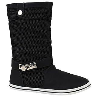Damen Stiefel Schlupfstiefel Metallic Schnallen Freizeit Schuhe 150568 Schwarz Bernice 39 | Flandell®