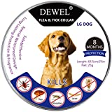 Dewel Collar Antiparasitos Perros/Gatos Contra Pulgas,Garrapatas y Mosquitos,Tamaño Ajustable e