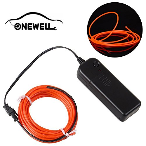 Onewell 15 ft Neonlicht, LED Neon LED Licht Glow EL Wire String Streifen Seil Tube für Auto Dekoration, Party, Halloween (Orange)