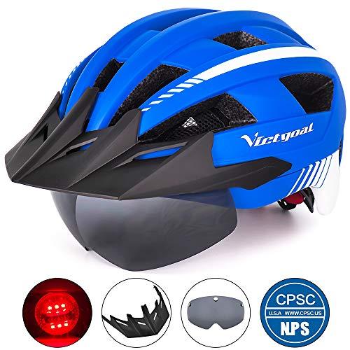 VICTGOAL Fahrradhelm MTB Mountainbike Helm mit abnehmbarem magnetischem Visier Abnehmbarer Sonnenschutzkappe und LED Rücklicht Radhelm Rennradhelm für Erwachsenen Herren Damen (Blue)