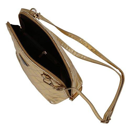 SODIAL(R) Le donne calde di vendita calde del messaggero delle donne delle coperture del plaid della borsa di cuoio delle donne di modo traspongono il sacchetto-nero Oro