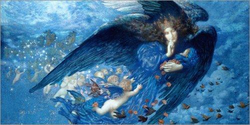 Poster 40 x 20 cm: Nacht mit ihrem Zug der Sterne von Edward Robert Hughes - hochwertiger Kunstdruck, neues Kunstposter (Edward Zug)