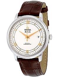 Omega de Ville Prestige Plata Dial Piel de color marrón reloj para hombre 424.13.40.20.02.002