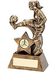 "Mujer fútbol, bronce/dorado sellada-figura de juguete de resina, fútbol-trofeo Talla:8.5"""