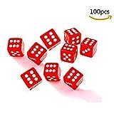 Dosige 100 Stück Würfelset 6seitig Rollenspiel Dice für Mathematiklernen Kasino Spiel Fest und Geschenk Mit Einem Beutel 8mm (Rot)