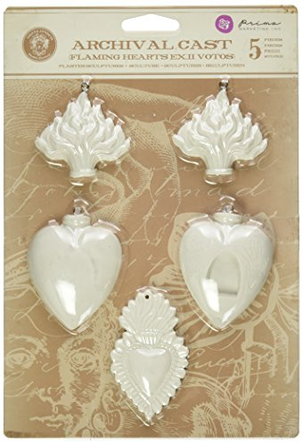 Prima Marketing Plaster Relic and Artifacts Archival Cast Embellishments-Flaming Hearts ExVotos II