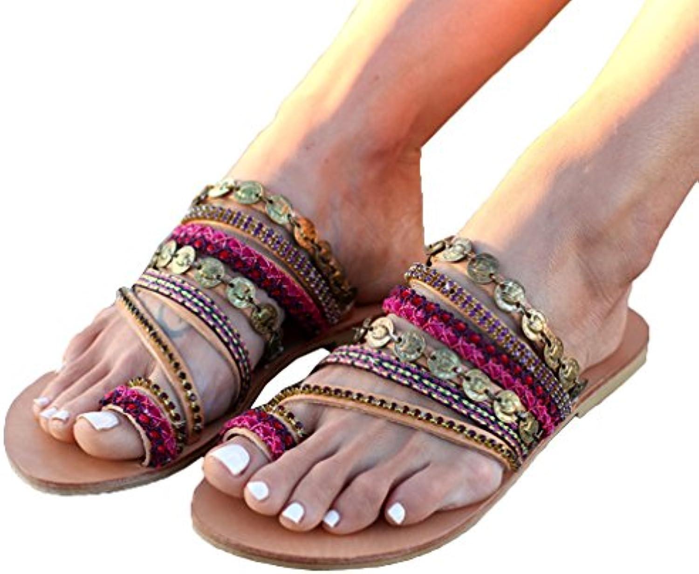 Zapatos de Mujer Bohemia Sandalias Moda Color Coincidente Zapatillas Cabeza Redonda Sandalias Imitación de Cuero...