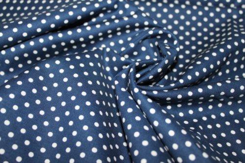 Baumwollstoffe, Patchwork: Dunkelblauer (navy) Stoff mit weißen Punkten (Dots, Polka Dot, Pünktchen, Punkte), Süßer Kinderstoff aus 100% Baumwolle/ 100% Cotton, VE: 0,5m -